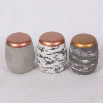Gold sprayed lid concrete made fake marble candle jars