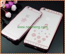 Hot selling electroplate diamond clear hard pc cover case for iphone 6s plus