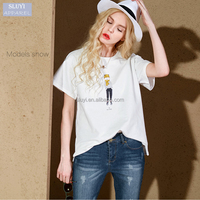 Hot sale style 2016 ladies summer loose cute cartoon printing simple fashion plus size t-shirts