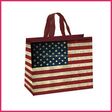 Fashion european American flap art paper bag with ribbon handle