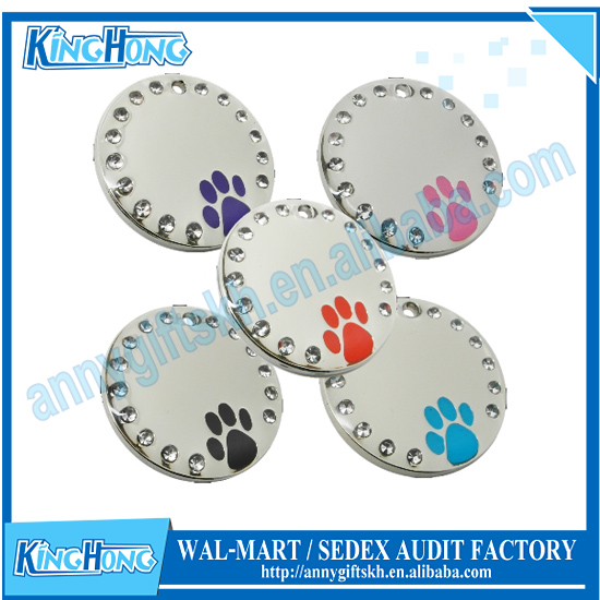 Chrome metal paw print crystal pet tag