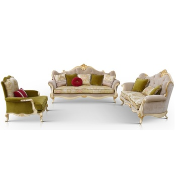 Classic Italy Living Room Furniture Carved Wooden Design Sofa Set