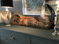 Handmade wooden mermaid sculpture