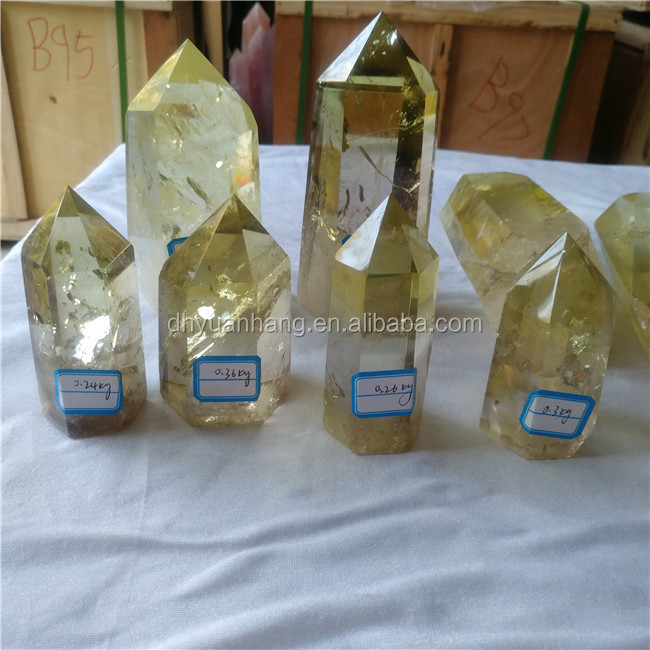 Natural six sides citrine crystal points quartz crystal healing wands