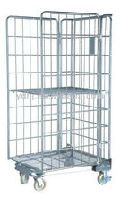 Folding wire mesh container/ Metal turnover box with wheels