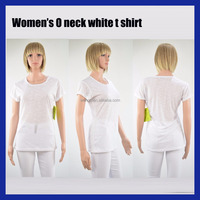 Women's O neck white plain customized t shirt