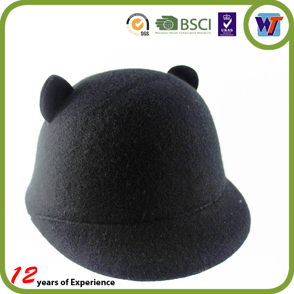 Top Quality Cute Kids Rabbit Cap Felt Wool Fedora Hats Custom For Children Present