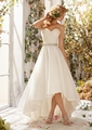 IA16207 customerized short of front and long back sleeveless sweet-heart neckline A-line organza wedding gown