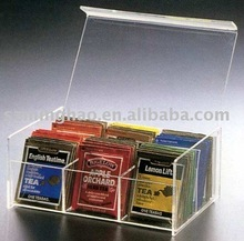 clear acrylic tea bag colletction box lucite storage box