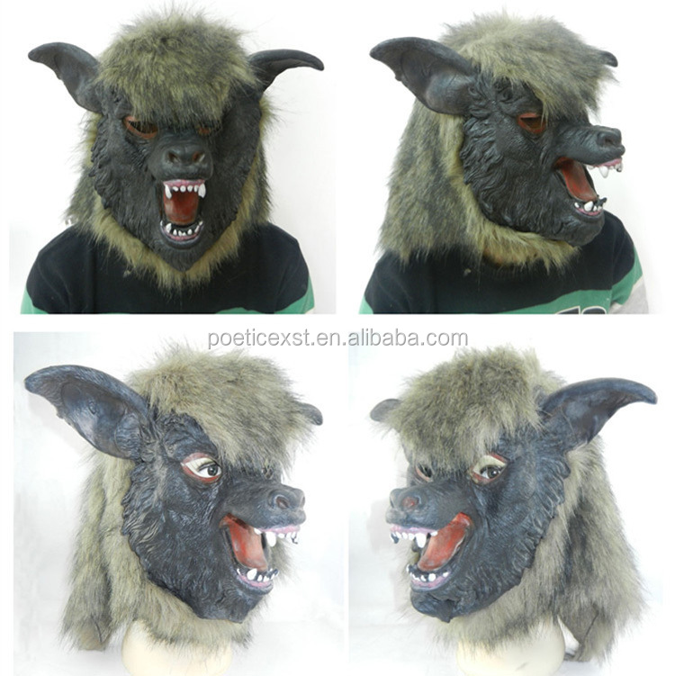 New halloween costume party horrible latex black wolf head mask with hair