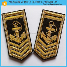 wholesale metallic thread embroidery for uniform/handmade golden metallic thread embroidered badge