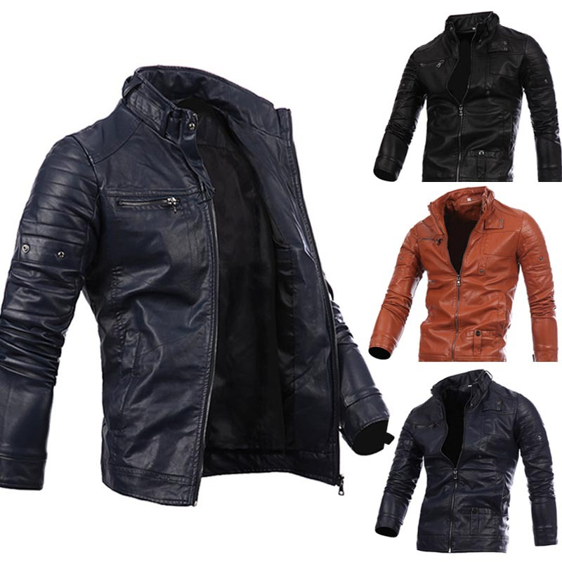 Fashion Clothing 2017 long sleeve Motorcycle PU Leather Jacket Man Winter