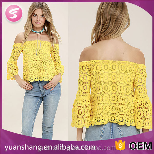 New Fashion Sexy Women Crochet Lace Off-The-Shoulder Blouse