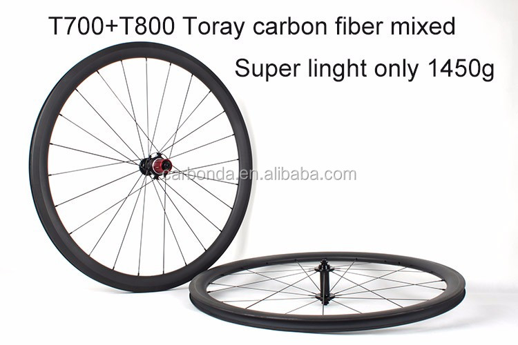 Factory Direct Sale 700C AERO Design Carbon Toray T700 & T800 Mixed Road Bike Clincher Wheelsets 27mm