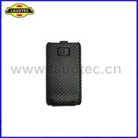 Black Carbon Fiber Leather Flip Pouch Case Back Cover for Samsung Galaxy S2 I9100