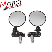 Motoo - Motorcycle adjustable CNC Aluminum Rearview Mirror Handle bar End Black Side Mirror For Harley Davidson XL883 1200