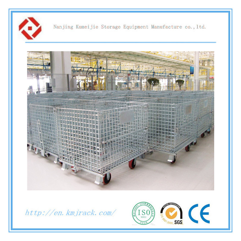 Steel Structure Warehouse Folding Forklift Safety Storage Cage with Wheels