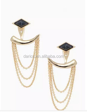 High quality fashion charm drape tassel sd drop earrings with brass material