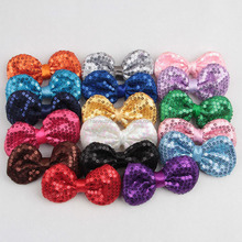 Boutique glitter sequin fabric hair bows 2017