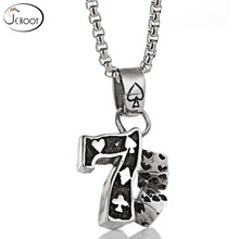 Mens Hot Stainless Steel Dice 7 Pendant Punk Necklace Men's Tide Vintage Titanium Steel Number 7 Tag Necklace