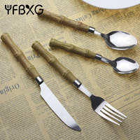 unique gift ideas camping bamboo shape plastic handle cutlery