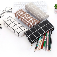 Wholesale Latest School Stationery Stripe Canvas Pencil Bag Simple Creative School Students Stationery Box