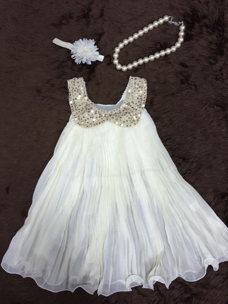 2015 new design baby girls dress white chiffon dress with matching headband and necklace set