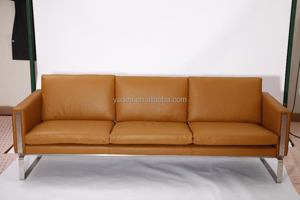Minimalist design furniture 3 seater tan leather sofa CH103 by Hans wegner Carl Hansen