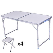 Outdoor foldable aluminum picnic table and chairs/portable camping table sets