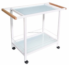 Glass dining cart with wooden handle