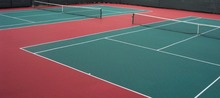 Modular interlock outdoor tennis court surface in plastic