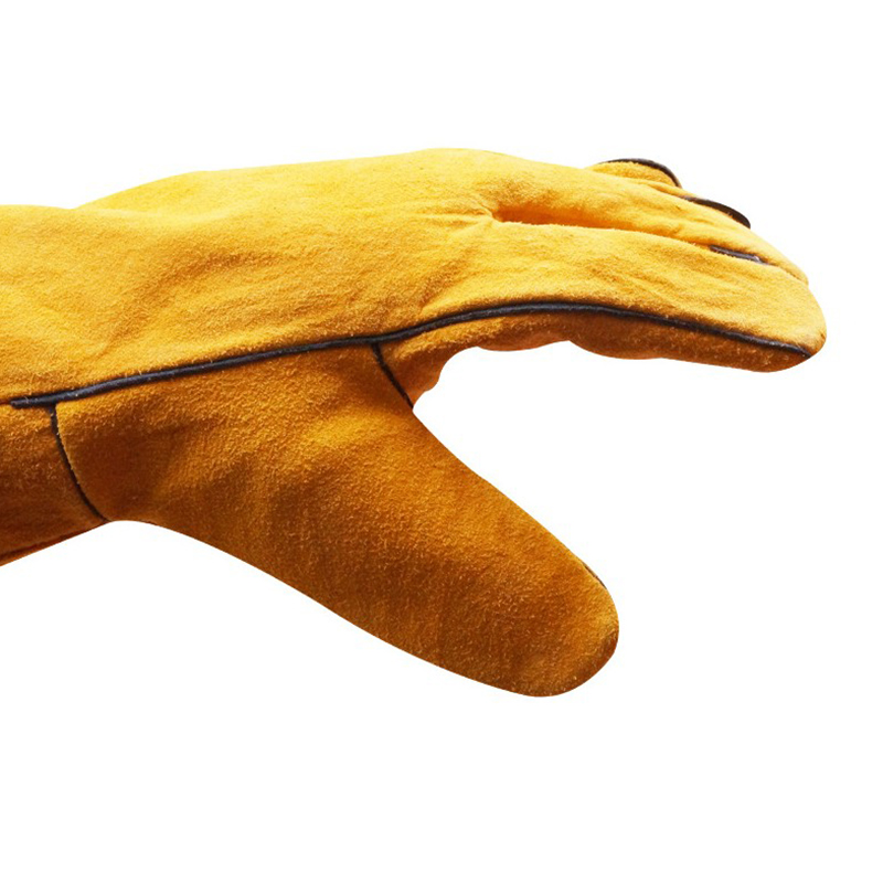 Promo manufacturer wholesale long cow split leather welding work gloves