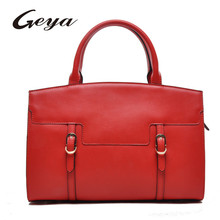 2016 New Womens Red Genuine Leather bag Tote trend leather handbag china handbag manufacturer