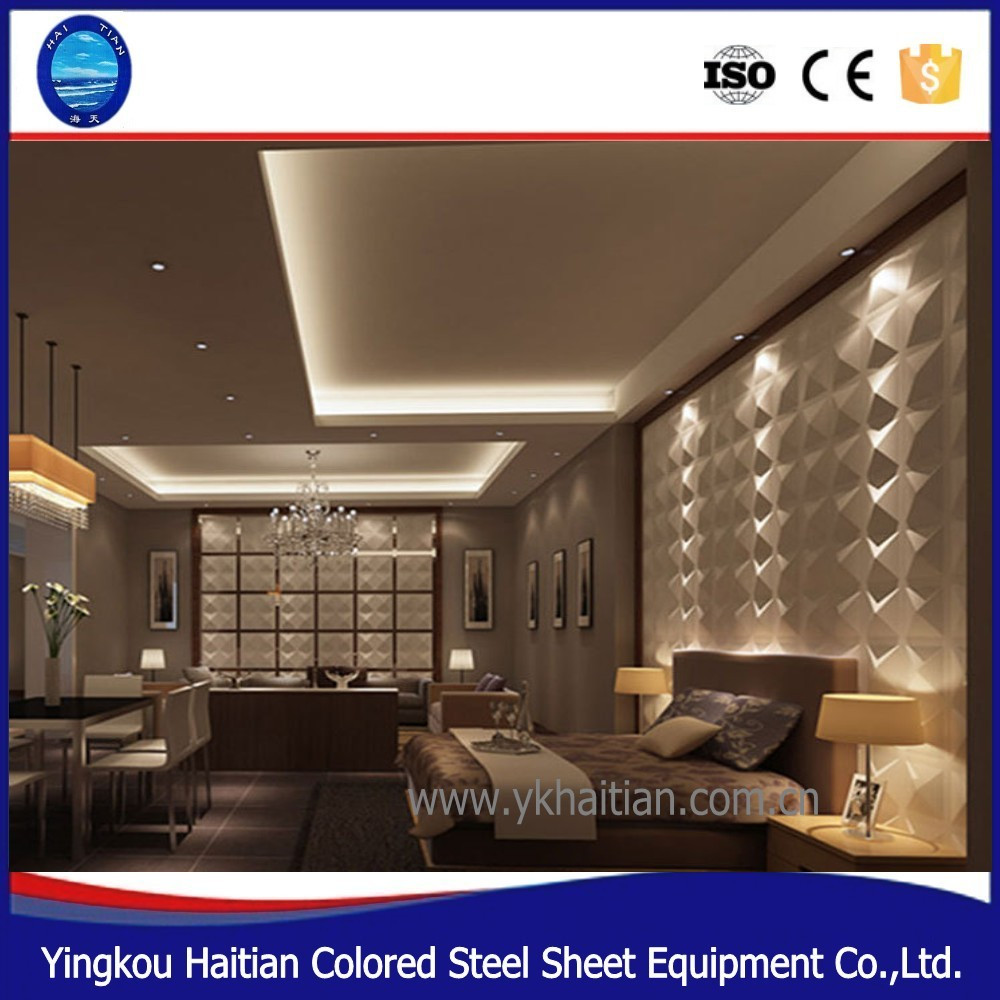 Pvc ceiling panel cladding for external wall ,Heat Insulation 3D PVC Wall Panel Embossed Wall Board