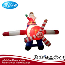 Hot Sale Inflatable Santa Claus In Plane and christmas decoration