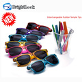Unique colorful interchangeable arms sun vision rubber temple sunglass manufacturer
