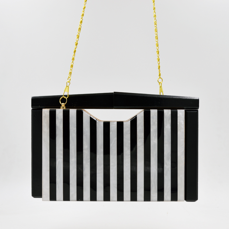New Trendy Black-white striped Wooden clutch bag women party bag