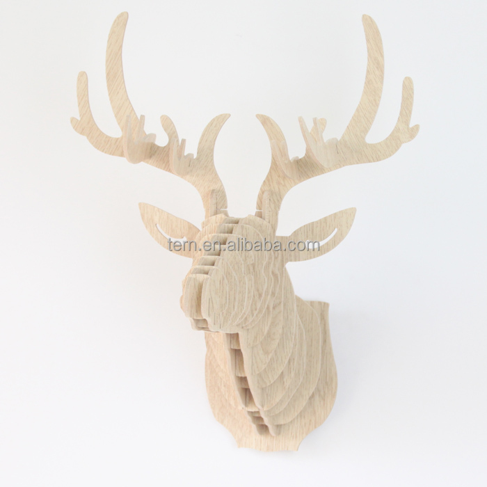 New Art Home Office Bar Wall Decoration Wood Crafts Creative Wooden Deer Head Wall Hanging Animals Head