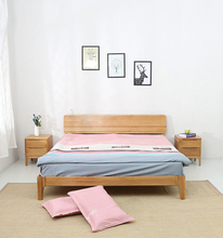 Japanese Style Romantic Handcarved Wooden Princess fabric Double Bed
