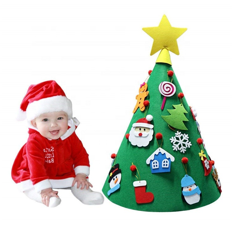Felt christmas <strong>decoration</strong> 3D felt Christmas tree with ornaments