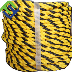Yellow And Black Twisted 3 Strands Polypropylene PP 16mm Tiger Rope