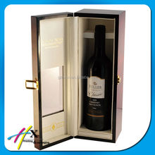 PU leather sewed inner wooden wine bottle box with window