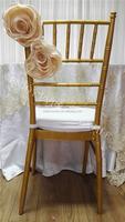 YHS#577 satin handmade flower fancy chair dress-polyester wedding events banquet chiavari chair back cover