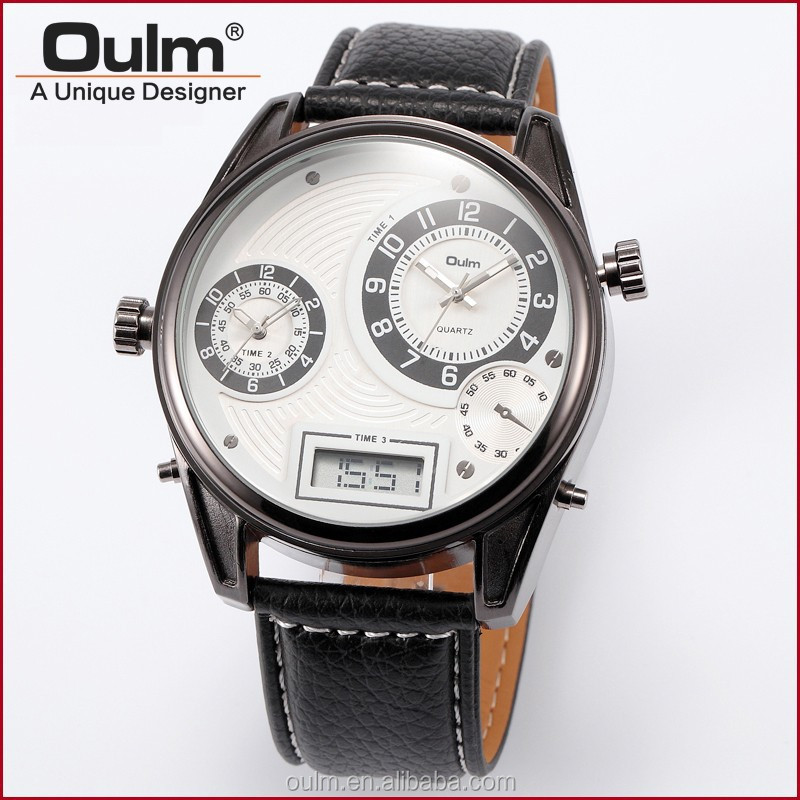 Oulm HP3581 wrist watch, multi time watches, pair wrist watch for couple