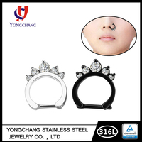 2016 New Style 316L Stainless Steel Black Nose Ring Anodised Titanium Collar Shape Jeweled Zircon Nose Ring