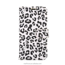 Free sample for iphone 8 case, leopard print with card holder and stand PU leather phone case for iphone 8 wallet case