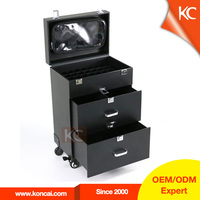 Koncai PVC professional makeup trolley case rolling beauty makeup case with wheel with drawers