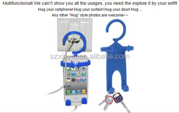 Human Shape Hanger Silicone Holder for Mobile Cell Phone