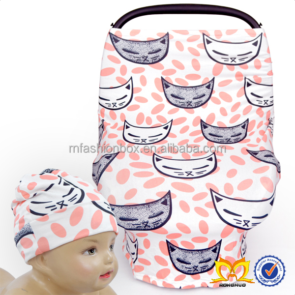 Adroable Cat Print Baby Car Seat Cover Wholesale Stretchy Cheap Custom Infant Hat And Car Seat Covers.