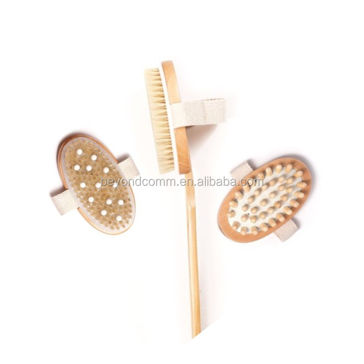 Natural Body bath Brush & 3 Detachable Heads, Cellulite Massager and Brush with Rubber Nubs